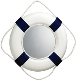 Blue/White Life Ring Mirror