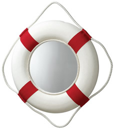 Red/White Life Ring Mirror
