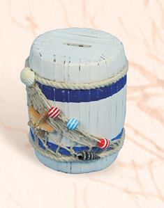 Wooden Barrel Coin Bank
