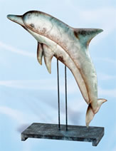 Metal Dolphin Sculpture on Stand