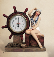 Lady Sailor Ship Wheel Clock