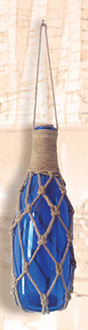 Blue Glass Bottle w/ Netting