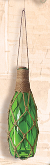 Green Glass Bottle w/ Netting