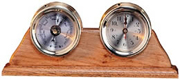 Brass Quartz Clock & Barometer Weather Station