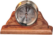 Brass Quartz Clock on Oak Wood Base
