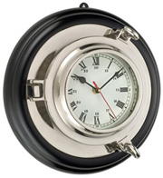 Nickel Plated Brass Porthole Clock on Wood Base