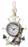 Wooden Anchor & Ship Wheel Clock