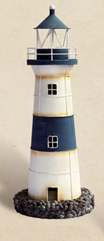 Decorative Rustic Blue & White Tin Lighthouse Candle Holder