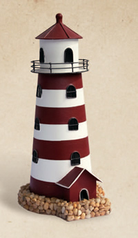 Decorative Red & White Tin Lighthouse Candle Holder