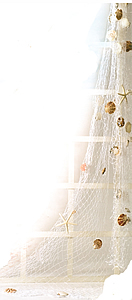Decorative White Fish Net w/ Shells & Starfish