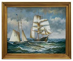 Pilot Schooner, Phantom Oil on Canvas Painting