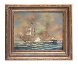 USS Enterprise & HMS Boxer Oil on Canvas Painting