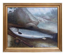 Salmon & Rod Oil on Canvas Painting