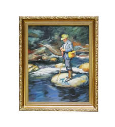 Taking a Trout by Kemp 1927 Oil on Canvas Painting