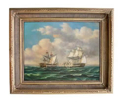 HMS Macadonia & USS United States Oil on Canvas Painting