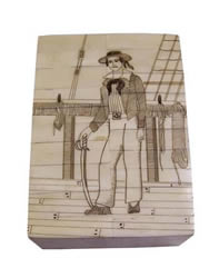 Sailor on Deck Scrimshaw Bone Box