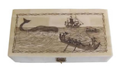 Whaling Long Boats Scrimshaw Bone Box