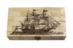 Tall Ship Scrimshaw Bone Box