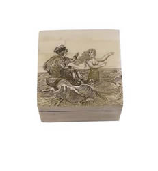 Mermaid Scrimshaw Bone Box