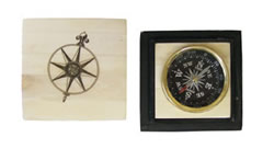 Brass Compass Inlaid in White Bone Compass Rose Box