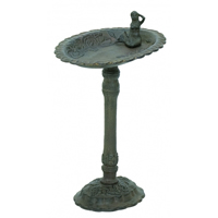 Rust Mermaid Oval Birdbath