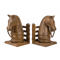 Cast Iron Rust Horsehead Bookends
