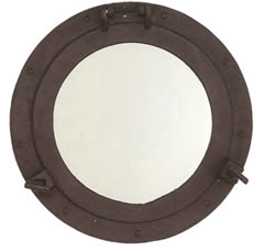 Black Iron Porthole Mirror