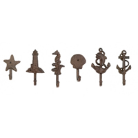 Set of Six Cast Iron Nautical Hooks