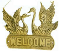 Polished Brass Swan Welcome Sign