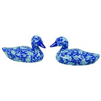 Pair of Blue & White Calico Ducks