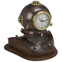 Antique Copper Over Iron Diver's Helmet Clock w/ Wood Base
