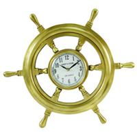 Antique Brass Quartz Ship Wheel Clock