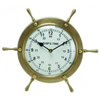 Antique Brass Ship Wheel Wall Clock