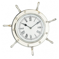 Nickel Ship Wheel Wall Clock