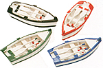Set of Four Wooden Boats w/ Paddles