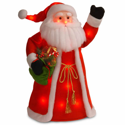 30 In. Standing Santa Holding Presents w/ 30 Red Flashing Indoor LEDs