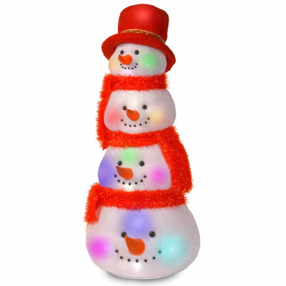 29 In. Snowman Head Tower Christmas Decoration with 20 Flashing LEDs
