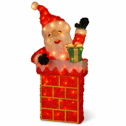 38 In. Santa on Chimney Christmas Decor w/ 70 Clear Outdoor Lights