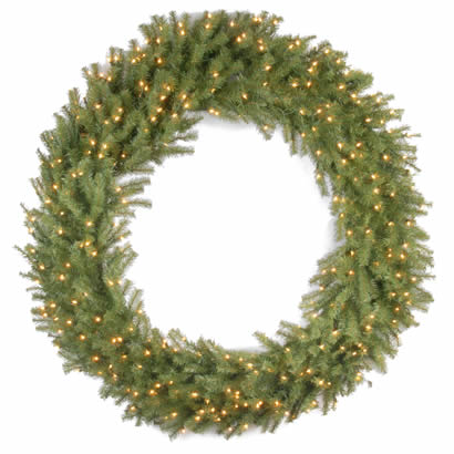 60 In. Norwood Fir Christmas Wreath with 300 Clear Lights-UL