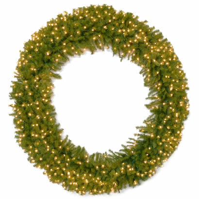 72 In. Norwood Fir Christmas Wreath with 450 Clear Lights-UL