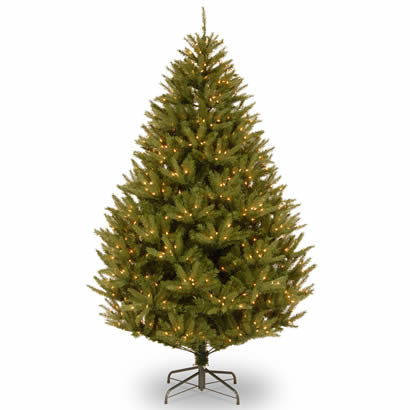 7 1/2 Ft. Feel-Real Cedar Christmas Tree w/ 800 Clear Lights