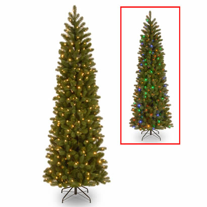 7 1/2 Ft. Feel Real Douglas Fir Slim Christmas Tree w/ 350 Dual LEDs