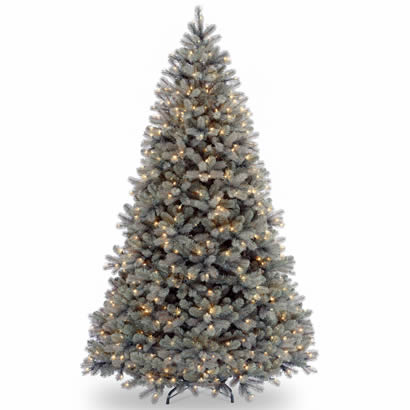 7 1/2 Ft. Feel-Real Douglas Blue Fir Christmas Tree w/ 750 Clr Lights