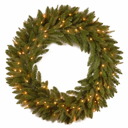36 In. Feel-Real Fraser Grande Christmas Wreath with 100 Clear Lights