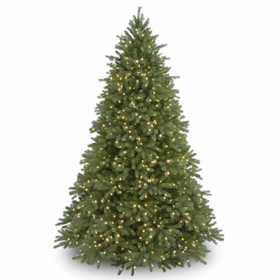 9 Ft. Feel-Real Fraser Fir Hinged Christmas Tree w/ 1500 Clear Lights