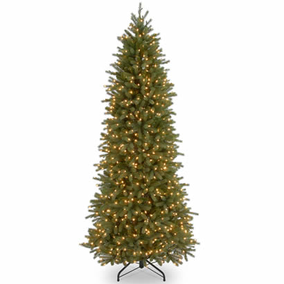 7 1/2 Ft. Feel-Real Fraser Slim Fir Christmas Tree w/ 650 Clr Lights