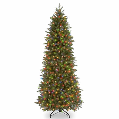 7 1/2 Ft. Feel-Real Fraser Slim Fir Christmas Tree w/ 650 Multi Lights