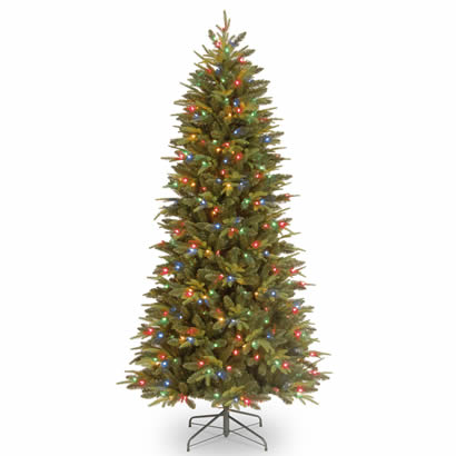 7 Ft. Feel-Real Pomona Pine Slim Christmas Tree with 300 Multi LEDs