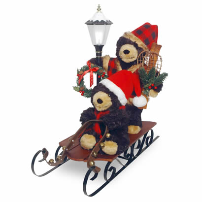 26 In. Sleigh with Bears and Lantern Christmas Decoration