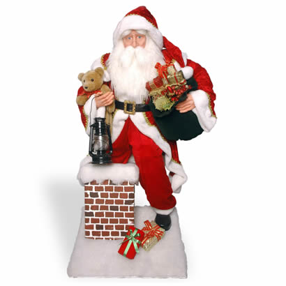 54 In. Santa Climbing Chimney Christmas Decoration